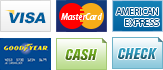 We accept Visa, Mastercard, American Express, Goodyear, Cash and Check.